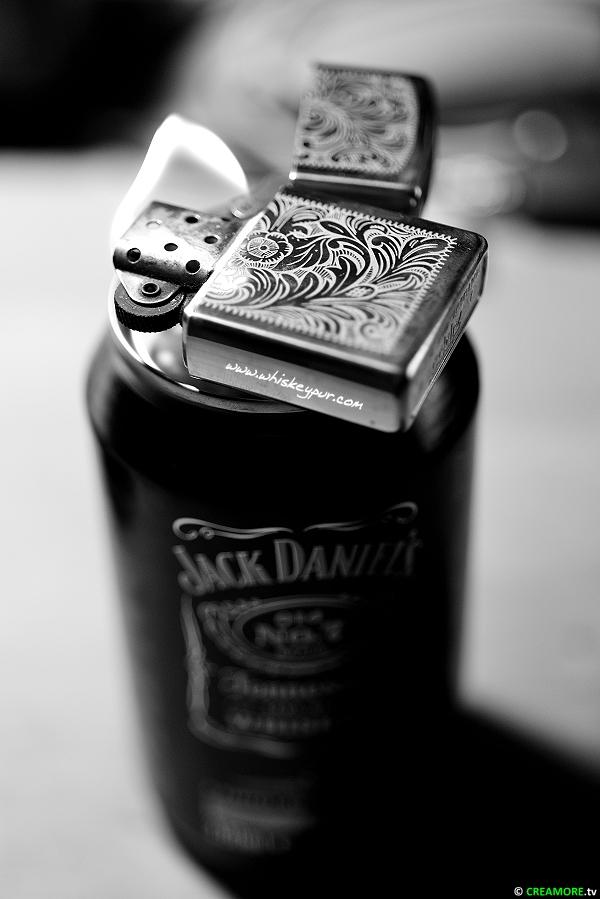Jack Daniels on Fire Zippo Venetian Brass